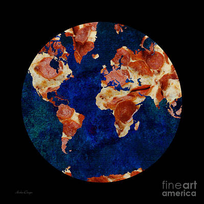 Pizza World Print by Andee Design