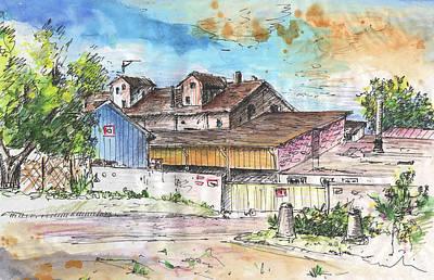 House Art Drawing - Place De La Gare In Soufflenheim by Miki De Goodaboom