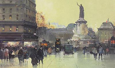 Bus Painting - Place De La Republique by Eugene Galien-Laloue