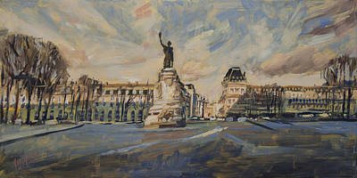 Square Painting - Place De La Republique France by Nop Briex
