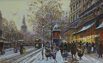 Snow Scene Painting - Place De La Republique Paris by Eugene Galien-Laloue