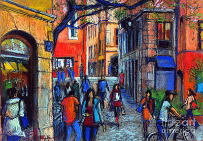 Pastel - Place Du Petit College In Lyon by Mona Edulesco