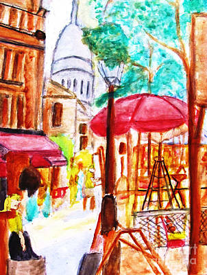 Oneself Painting - Place Du Tertre Of Paris by Stanley Morganstein
