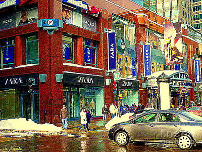 Montreal Restaurants Painting - Place Montreal Trust Rue St Catherine Boutiques Zara Winners Mexx Indigo Cafe Winter Scene Cspandau by Carole Spandau