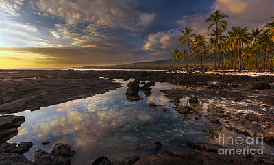 Big Island Photograph - Place Of Refuge Sunset Reflection by Mike Reid