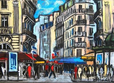 Pastel - Place Saint-michel In Paris by Mona Edulesco