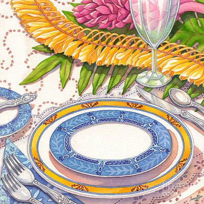 Place Setting With Ginger Lei Art Print by Tammy Yee