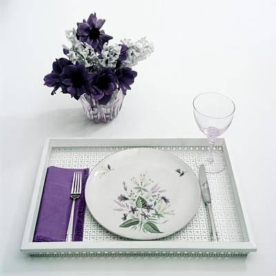 White Flower Photograph - Place Setting With With Flowers by Haanel Cassidy