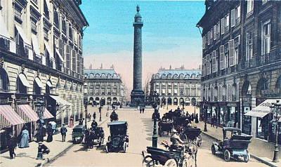 Place Vendome Paris 1910 Art Print