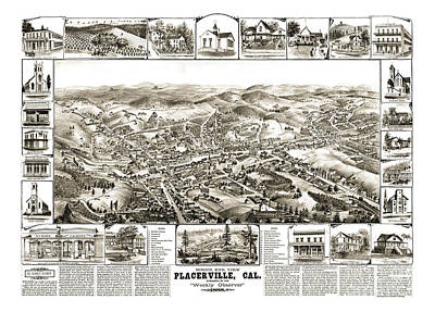 Placerville Drawing - Placerville - California - United States - 1888 by Pablo Romero
