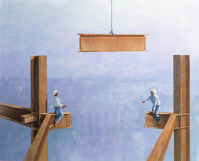 Vertigo Photograph - Placing The Last Link by Lincoln Seligman