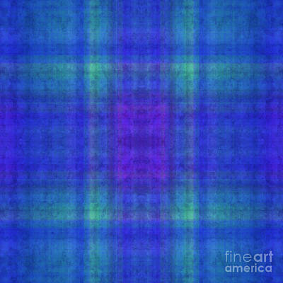 Digital Art - Plaid In Blue 11 Square by Andee Design