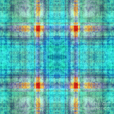 Digital Art - Plaid In Blue 2 Square by Andee Design