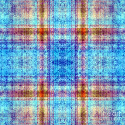 Digital Art - Plaid In Blue 3 Square by Andee Design