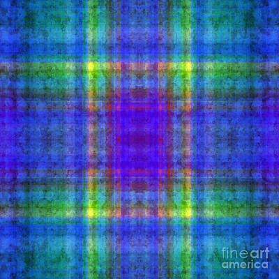 Digital Art - Plaid In Blue 8 Square by Andee Design