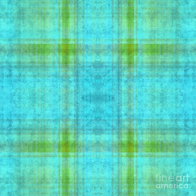 Digital Art - Plaid In Blue 9 Square by Andee Design