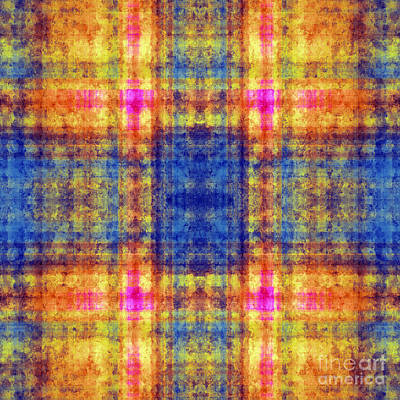 Digital Art - Plaid In Blue And Orange Square by Andee Design