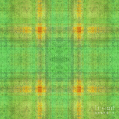 Digital Art - Plaid In Green 1 Square by Andee Design
