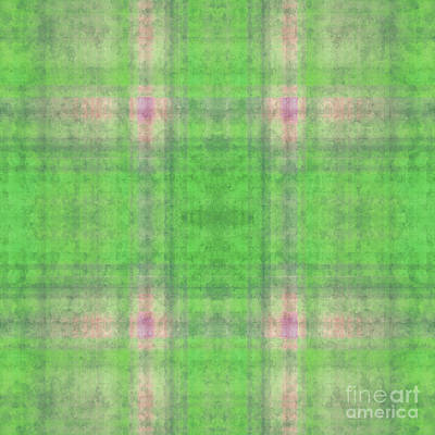 Digital Art - Plaid In Green 5 Square by Andee Design