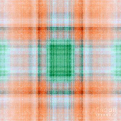Digital Art - Plaid In Orange 3 Square by Andee Design