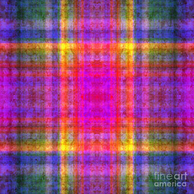 Digital Art - Plaid In Rainbow 1 Square by Andee Design