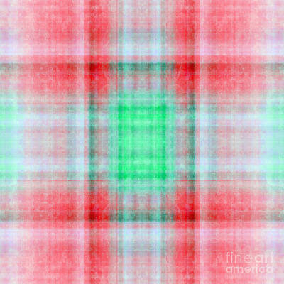 Digital Art - Plaid In Salmon 2 Square by Andee Design