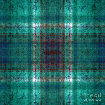 Digital Art - Plaid In Teal 1 Square by Andee Design
