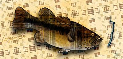 Large Mouth Bass Digital Art - Plaid Largmouth Bass by Matt Kirk