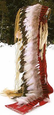 Cheyenne Headdress Mixed Media - Plains Indian Headdress -replica by Native Arts Trading