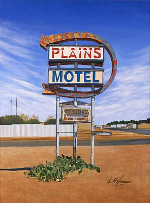 Texas Landscape Painting - Plains Motel by Karl Melton
