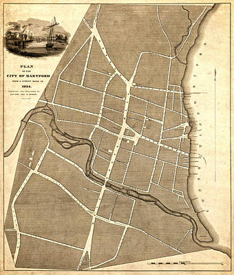Photograph - Plan For Hartford Connecticut 1824 by Phil Cardamone