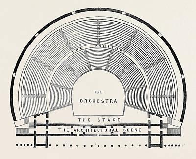 Plan Of A Greek Theatre Art Print by English School