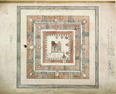 Illustration Technique Photograph - Plan Of A Temple by British Library