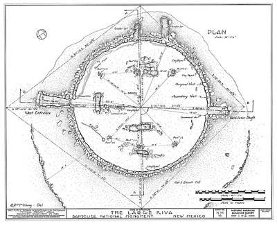 Kiva Photograph - Plan Of An Anasazi Kiva by Library Of Congress