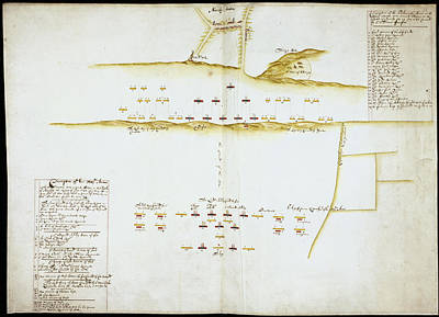 Plan Of Battle Of Naseby Art Print by British Library