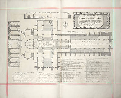 Religious Drawings Photograph - Plan Of Collegiate Church by British Library