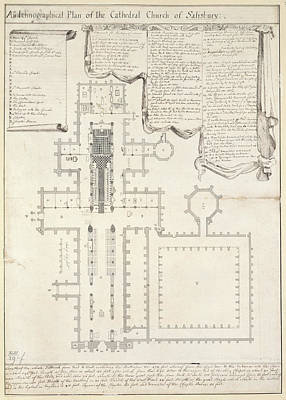 Plan Of Salisbury Cathedral Art Print by British Library