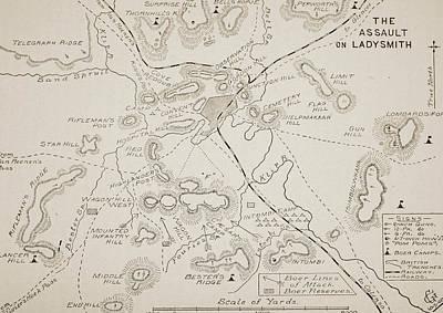 Plan Of The Assault On Ladysmith Art Print