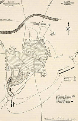 Border Drawing - Plan Of The Attack On Sholapore by English School