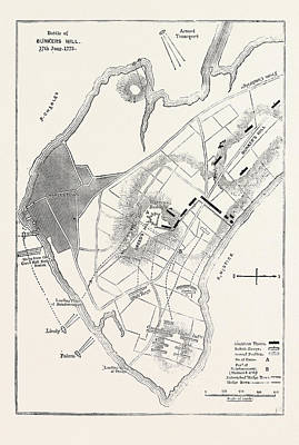 Bunker Hill Drawing - Plan Of The Battle Of Bunkers Hill by American School
