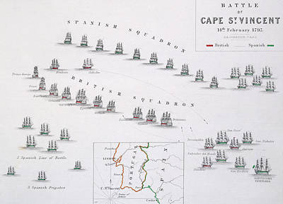 Border Drawing - Plan Of The Battle Of Cape St. Vincent by Alexander Keith Johnston