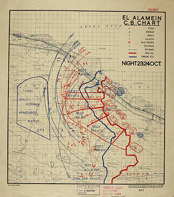 Cartography Photograph - Plan Of The Battle Of El Alamein by British Library
