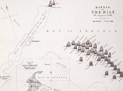 Border Drawing - Plan Of The Battle Of The Nile by Alexander Keith Johnston