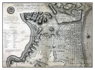 Philadelphia History Painting - Plan Of The City Of Philadelphia - 1797 by Pablo Romero