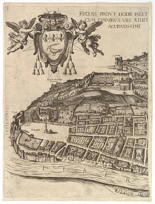 Cardinal Drawing - Plan Of The City Of Rome. Part 1 by Antonio Tempesta
