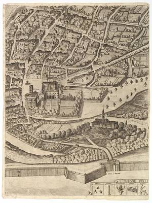 Cardinal Drawing - Plan Of The City Of Rome. Part 11 by Antonio Tempesta