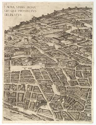 Cardinal Drawing - Plan Of The City Of Rome. Part 2 by Antonio Tempesta