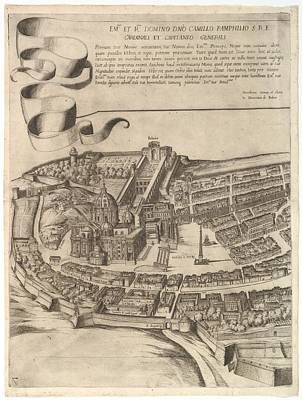 Cardinal Drawing - Plan Of The City Of Rome. Part 7 by Antonio Tempesta