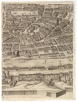 Cardinal Drawing - Plan Of The City Of Rome. Part 9 by Antonio Tempesta
