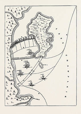 Plan Of The Defeat Of The American Fleet, Under Benedict Art Print by English School